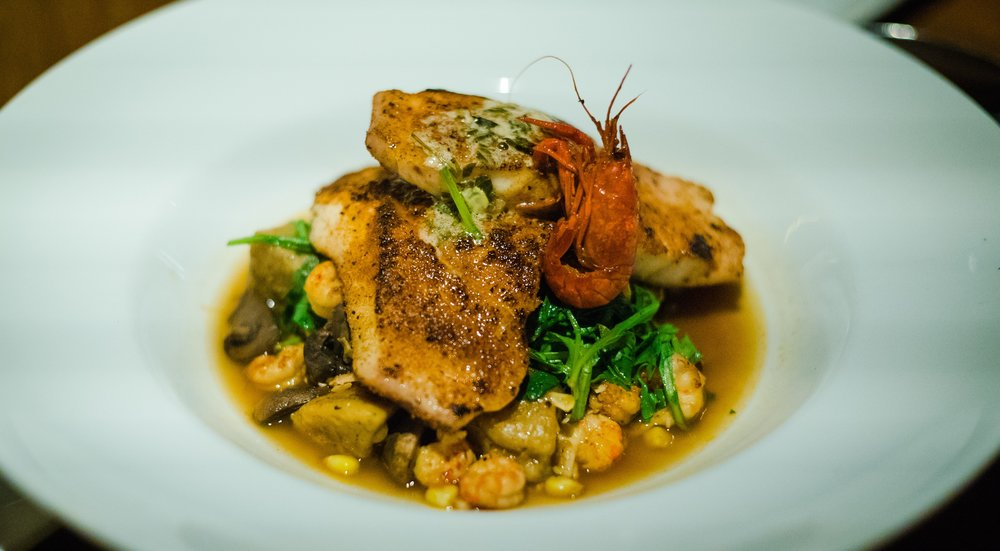 Geaux Fish A La Plancha, with butternut squash gnocchi (and of course, the crawfish garnish - those little guys get into everything!)