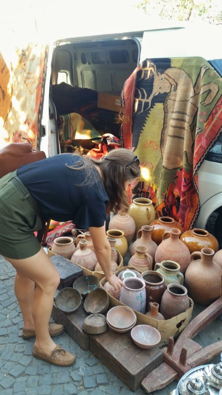 Handmade pottery sold out of a car boot on Old Bridge