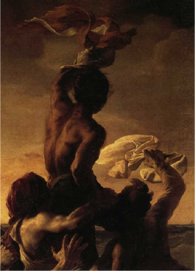 a close up of the man everyone is rallying behind. interestingly, he is black. Géricault actually included 3 black men in this painting, though none would have actually been on the raft.