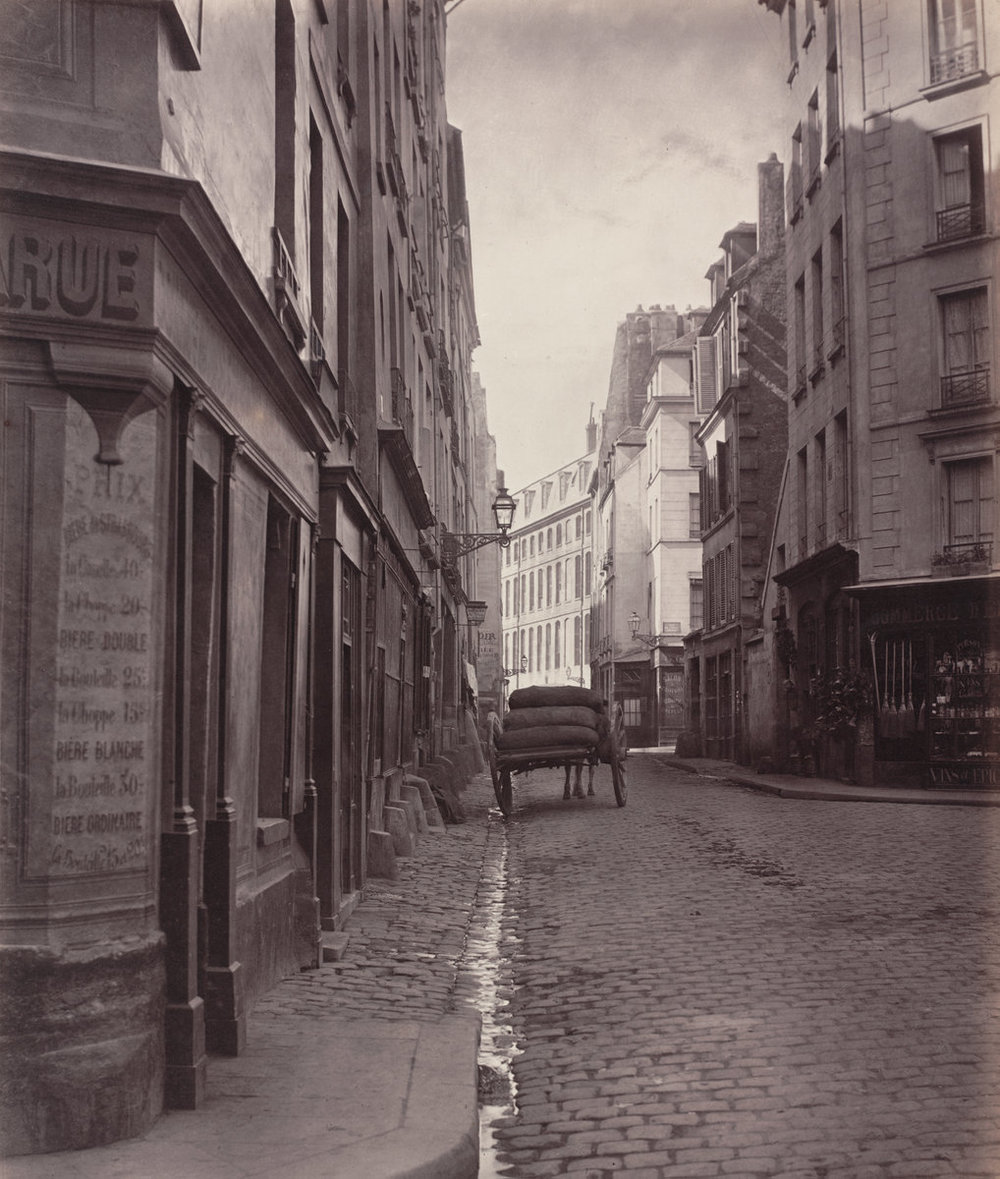 Charles Marville,  Rue de la Bûcherie, du cul de sac Saint-Ambroise (fifth arrondissement)   1866-1868