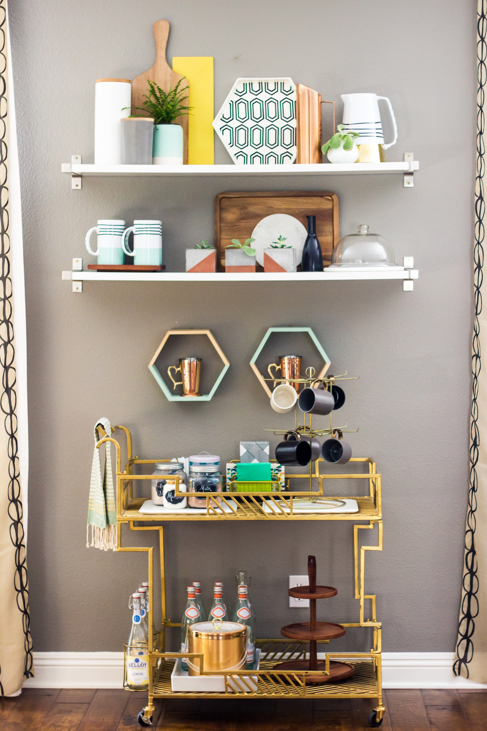 Youu0027ve Seen This Bar Cart Before. I Had To Share It Again Because I Just  Love How It Is Styled So Much! Here, Bobette Went For A Ferm Living  Inspired Look: ...