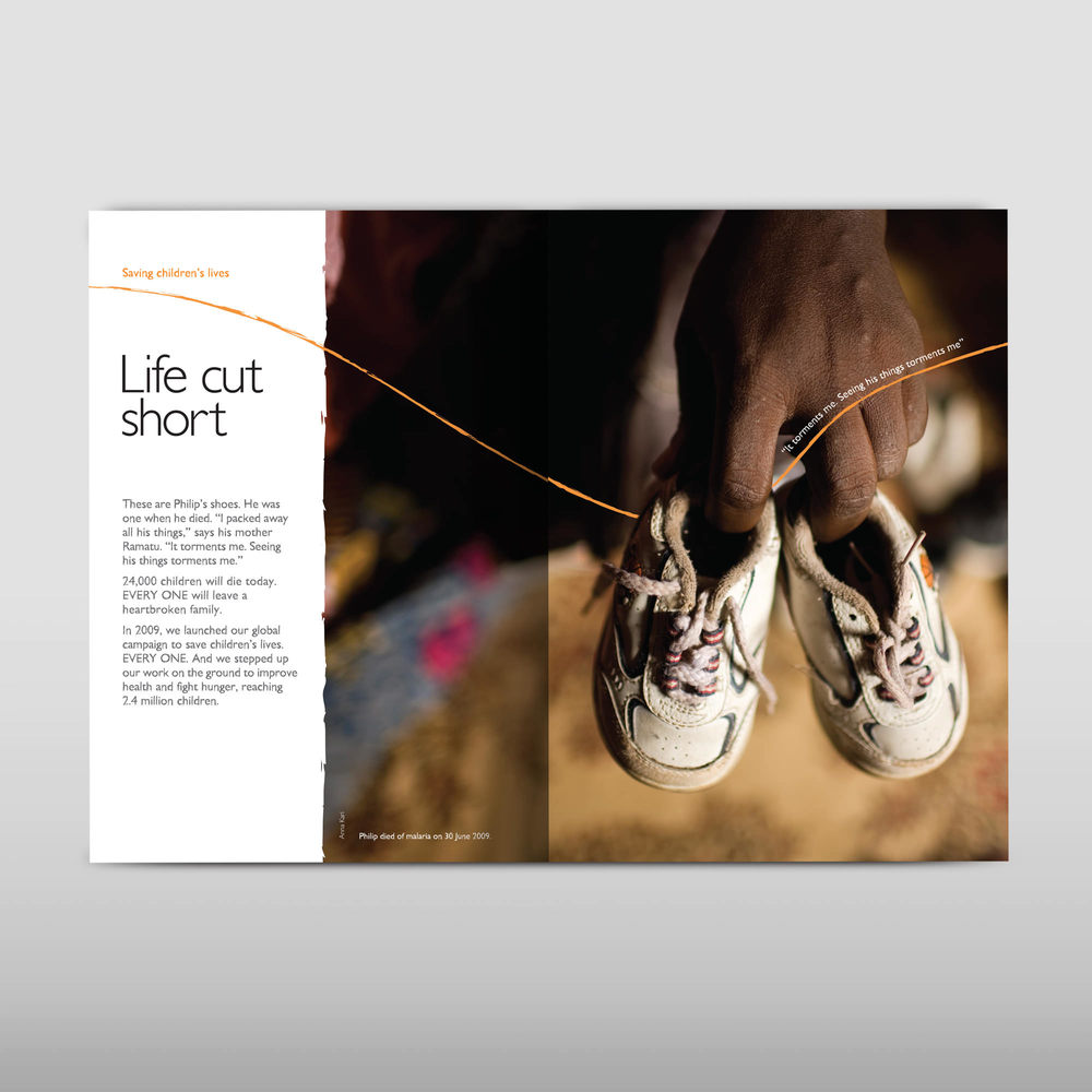 Double page spread charity annual report design