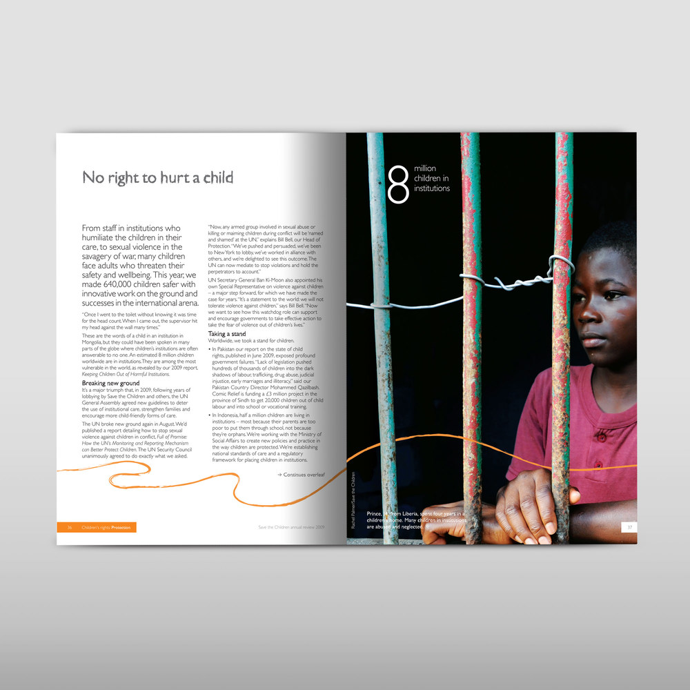 Inside double page spread charity annual report design