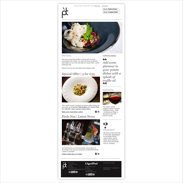 Fine dining HTML enewsletter