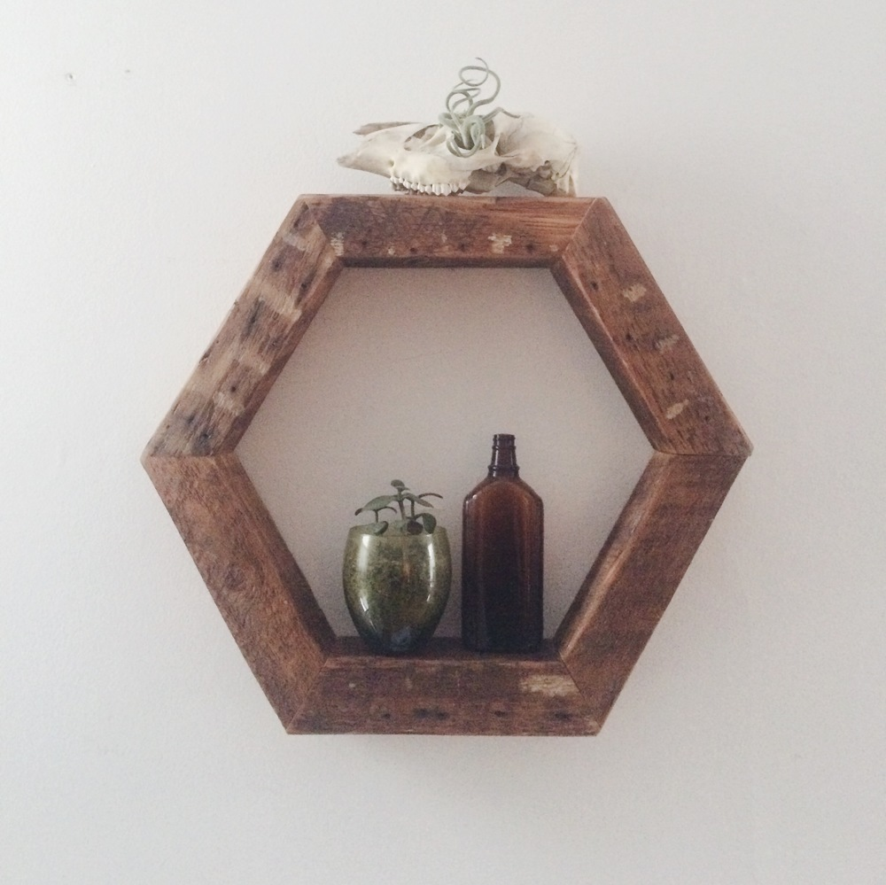 Geometric Shelf Class $45 Hexagon shaped (pictured) or triangle shaped