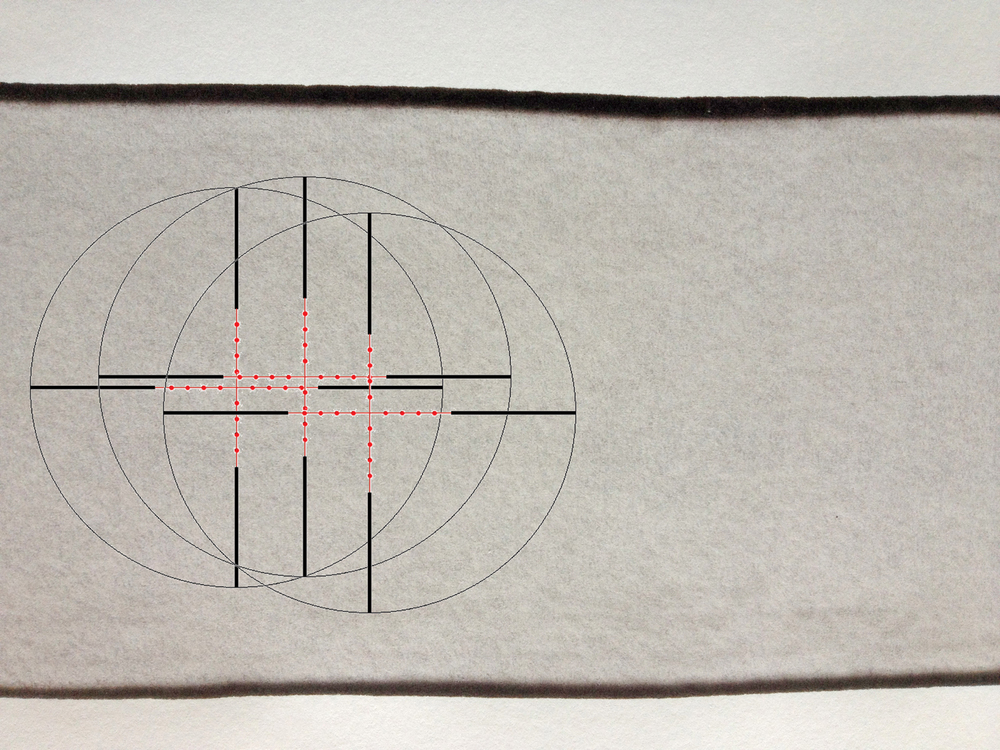 Reticle wipe -3, 2012, ink jet/ink wash on paper 30 x 42 cm