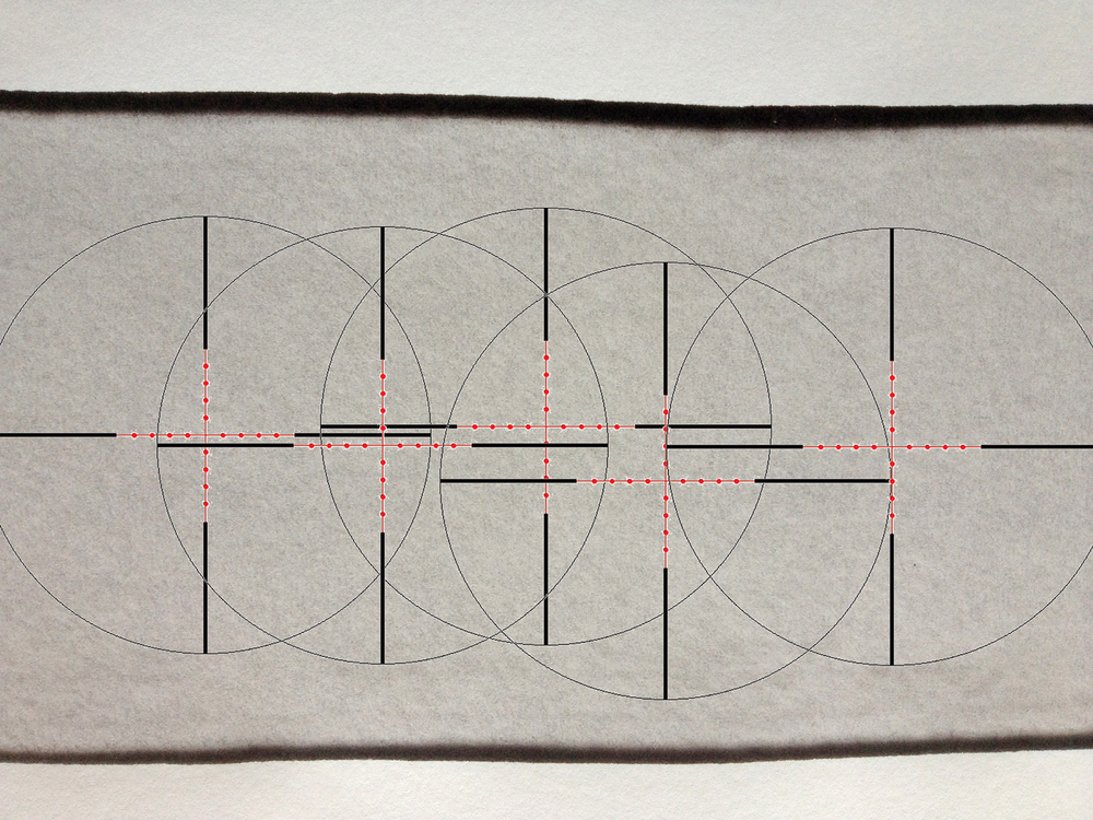 Reticle Wipe -5, 2012, ink jet/ink wash on paper 30 x 42 cm