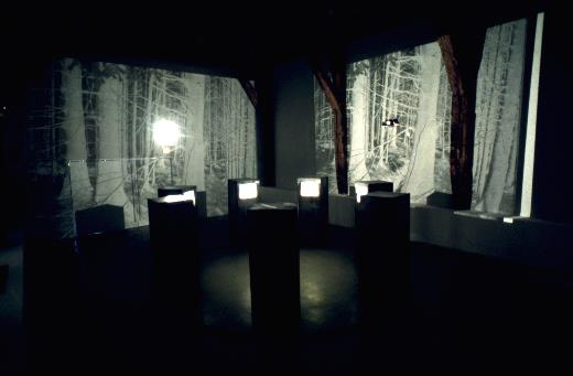 TV Circle 1987, installation for 7monitors in  7 steel cases, 4.5 min loop, here at The Centre d'Art Contemporain, Paris