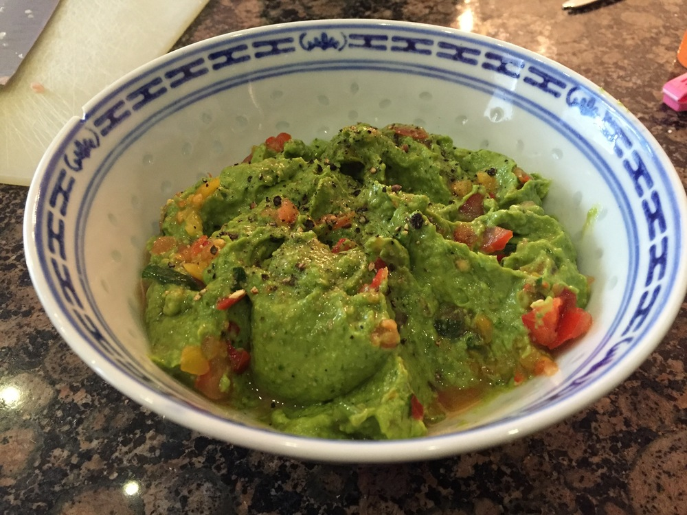 Avocado hummous with tomato salsa