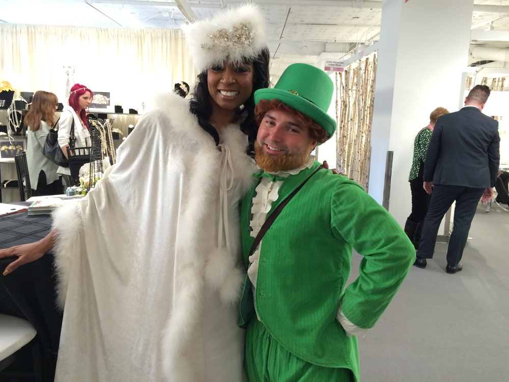Thank you to the National Bridal Market who provided the Saint Patrick's Day good luck in the form of a real-live Leprechaun seen here with Tanya our model.
