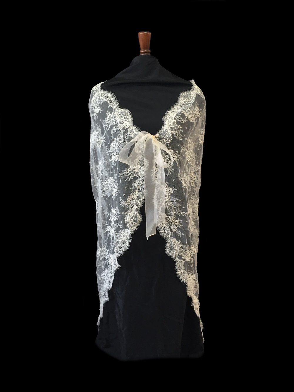 Style LC-D French Alençon Lace Cape Front