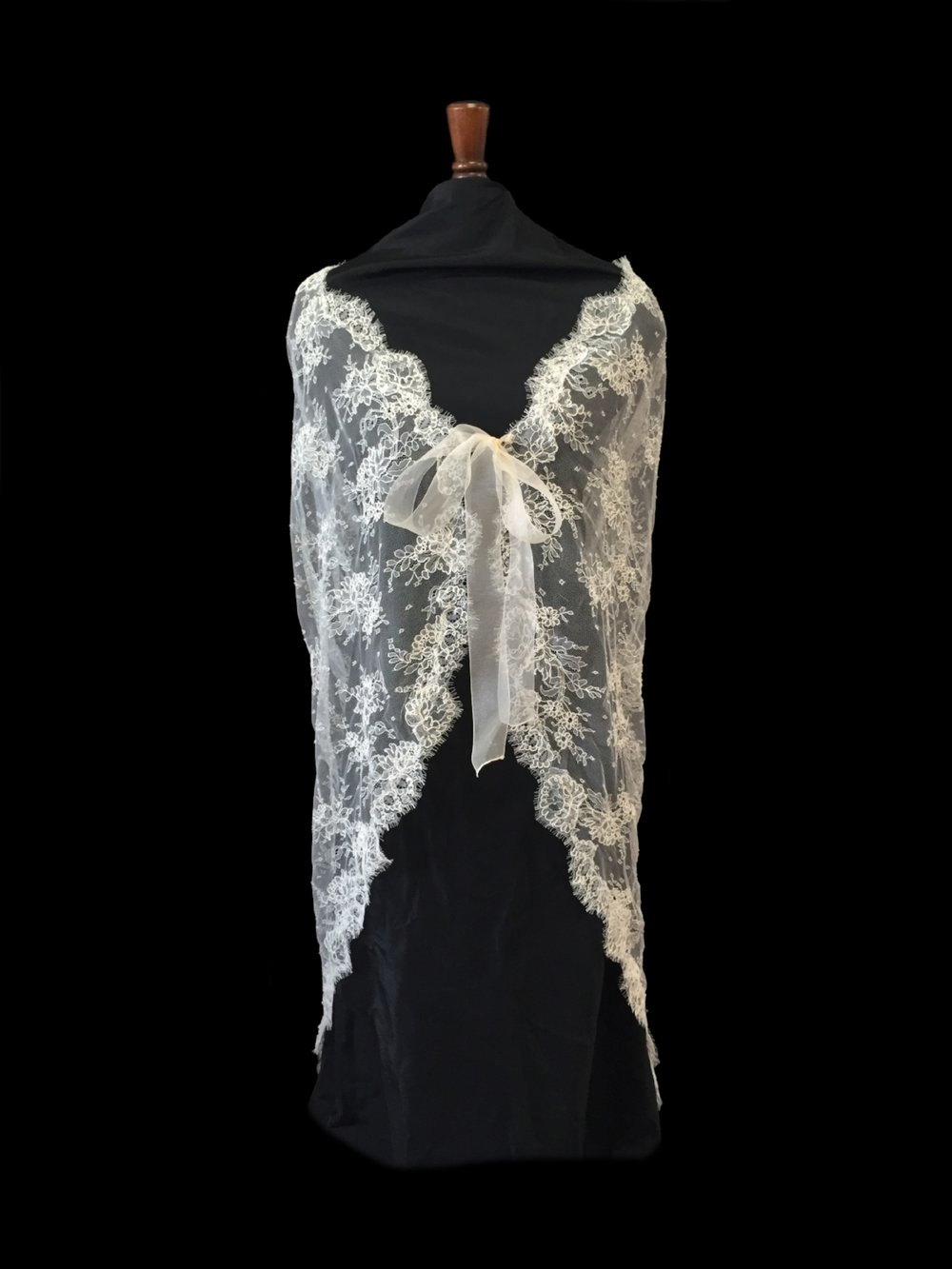 Style LC-D French Alençon Lace Cape - Front