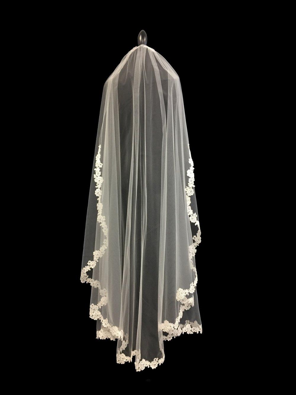 Style V5715-D _ 60x108    Fench Alençon Lace Edge Veil