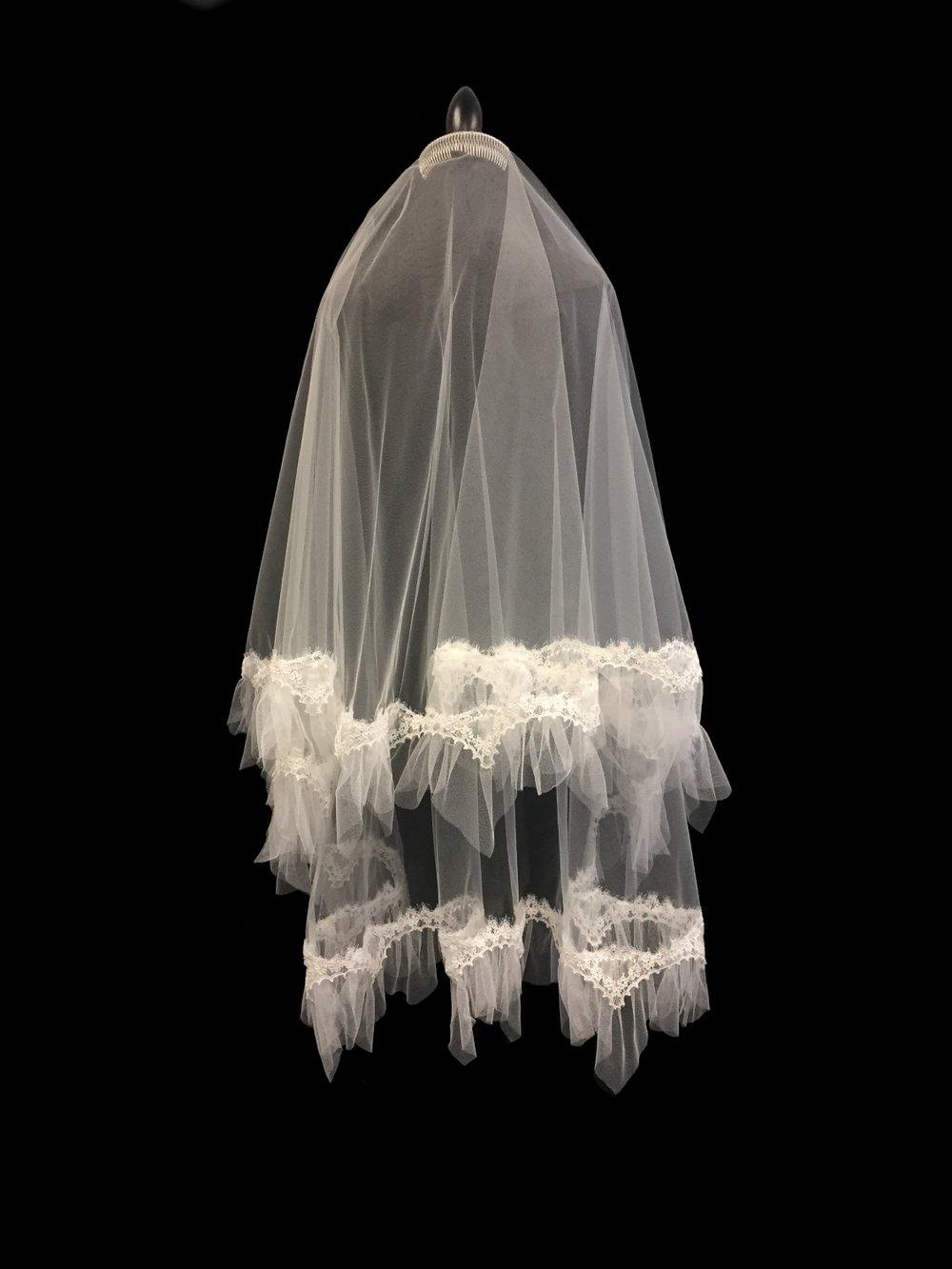 Style V5737-D _ 31-41x72 Circular French Alençon Lace Veil
