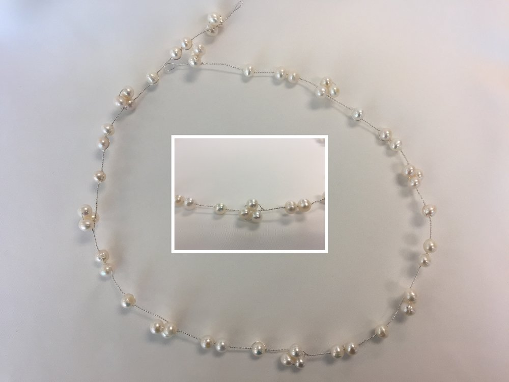 Style 7988-D - Silver Hair Vine with 8mm Pearls