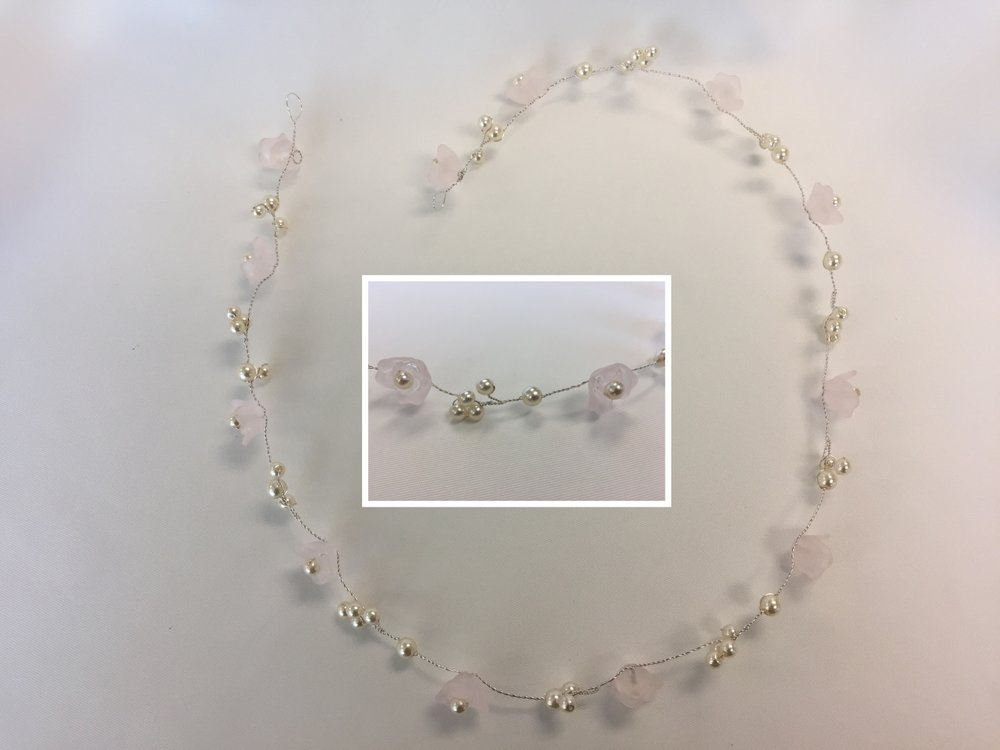 Style 7989-D - Silver Hair Vine with Roses & 6mm and 5mm Pearls