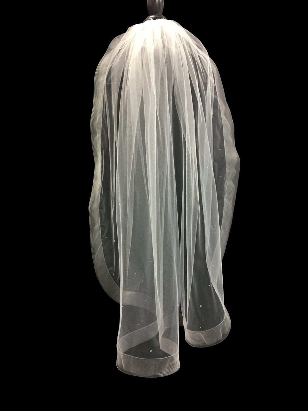 """Style V5793-D __  U-Cut Veil with 2"""" Mohair Border"""
