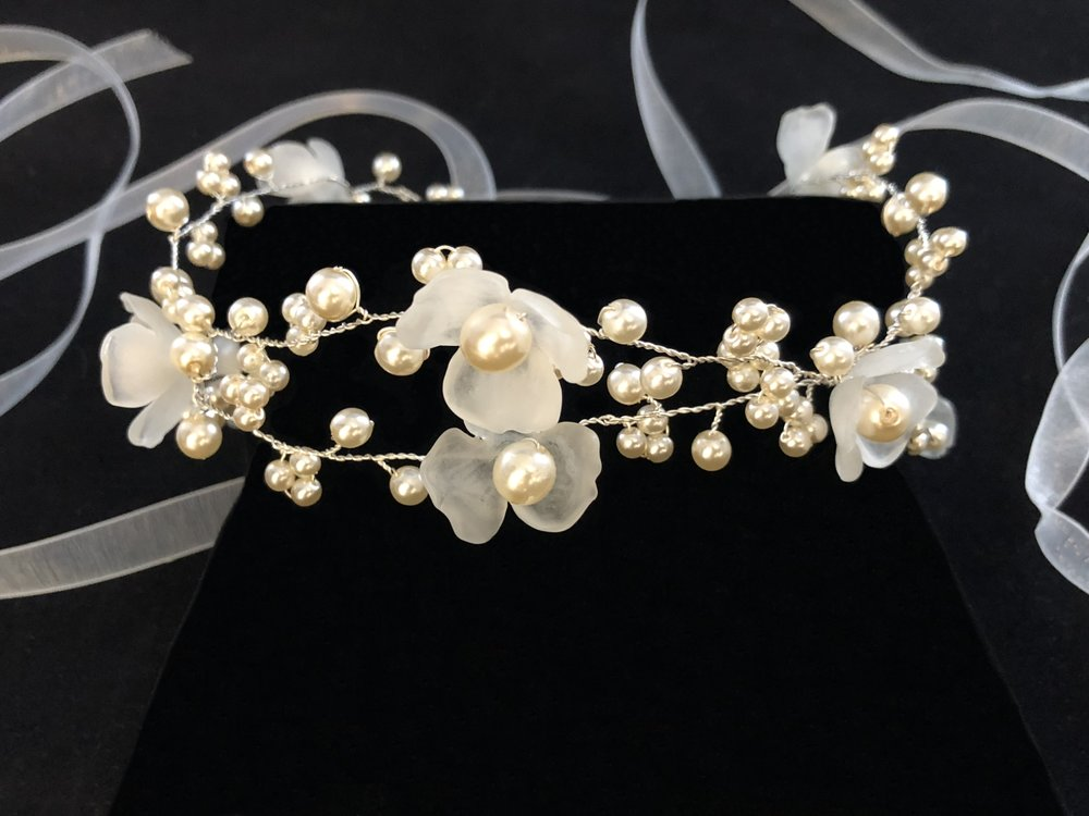 "Style 8077-D  - 1¾"" wide - Petals with Oyster Pearls and 3/8"" Organza Ribbon"