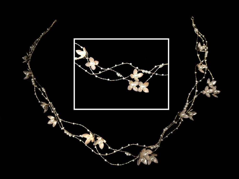 Style 8084-I  -  Flower and Pearl Hairvine - Gold