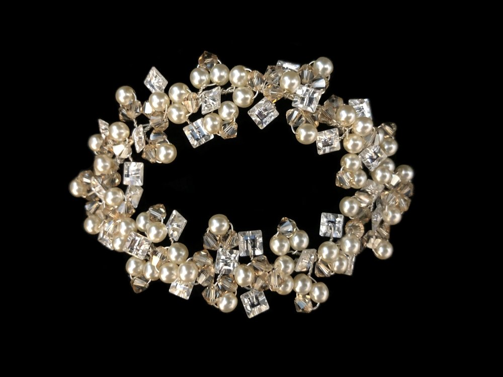 "Style 8105-D  - 4"" x 2¾""  Silver  -  Swarovski Golden Shadow Crystal with Oyster Pearl and Clear Rhinestone"