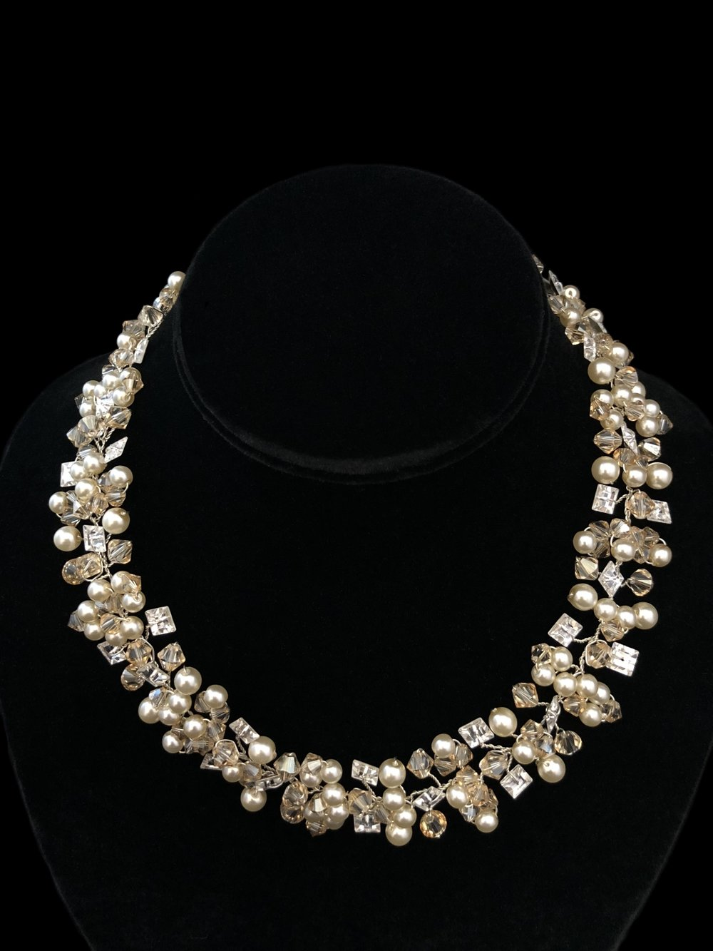 """Style 8105NL-D  -  1"""" wide  -  Swarovski Golden Shadow Crystal with Square Rhinestone and Oyster Pearl"""