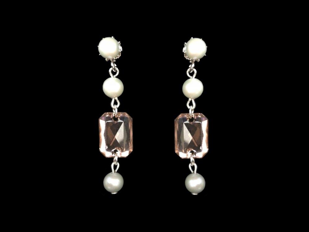 """Style 8108ER-D  -  1¾"""" long  Swarovski Vintage Rose Crystal and Dove Grey Pearls"""