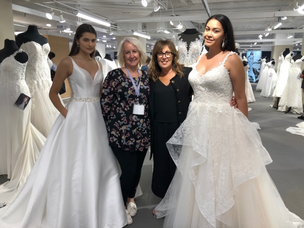 Sherri from  Madeline's Bridal  in Clovis California poses with Elen and two beautiful models who came by from  Bonny Bridal  to try on some headpieces and jewellery.
