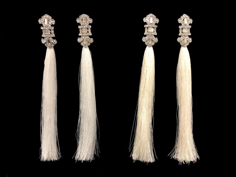 "Style 8190ER-D  -  Diamond White and Ivory Polysilk - 6½"" long"