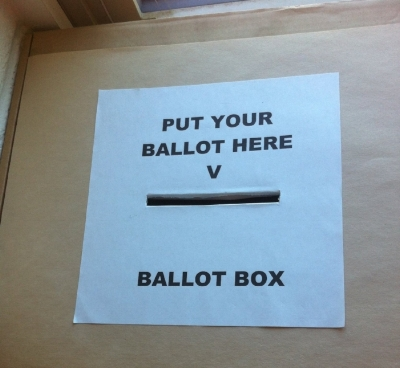 Our school ballot box, used for staff and clerkship elections.
