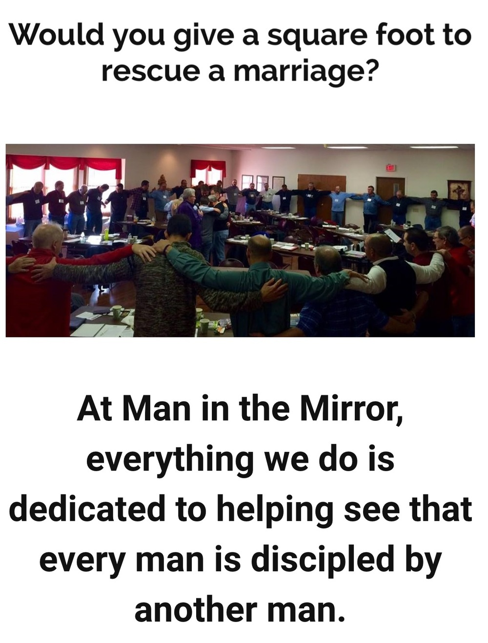 Donate a $100 Foot To Reach Many Men - Man in the Mirror