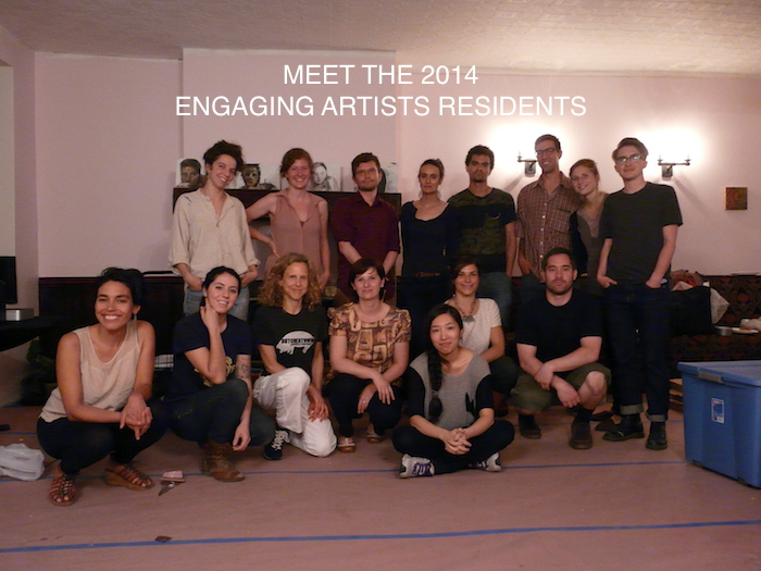The 2014 ENGAGING ARTISTS Residents (left to right) top: Anna Adler, Kate Weigel, David Wallace, Fanny Allie, Dato Mio, Travis Fairclough, Julia A. Rooney, Emily Miller. Bottom: Christina Sukhgian Houle, Jamie Marie Rose Grove, Anne Peabody, Flavia Berindoague, Sue Jeong Ka, Corinne Cappelletti, Anthony Heinz May