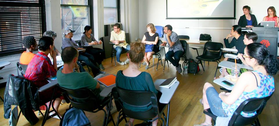 2015 residents at our weekly workshop at SVA. Jennie Smith-Peers from Elders Share the Arts presents an Age-Sensitivity Training to the group.  photo by Jeff Kasper