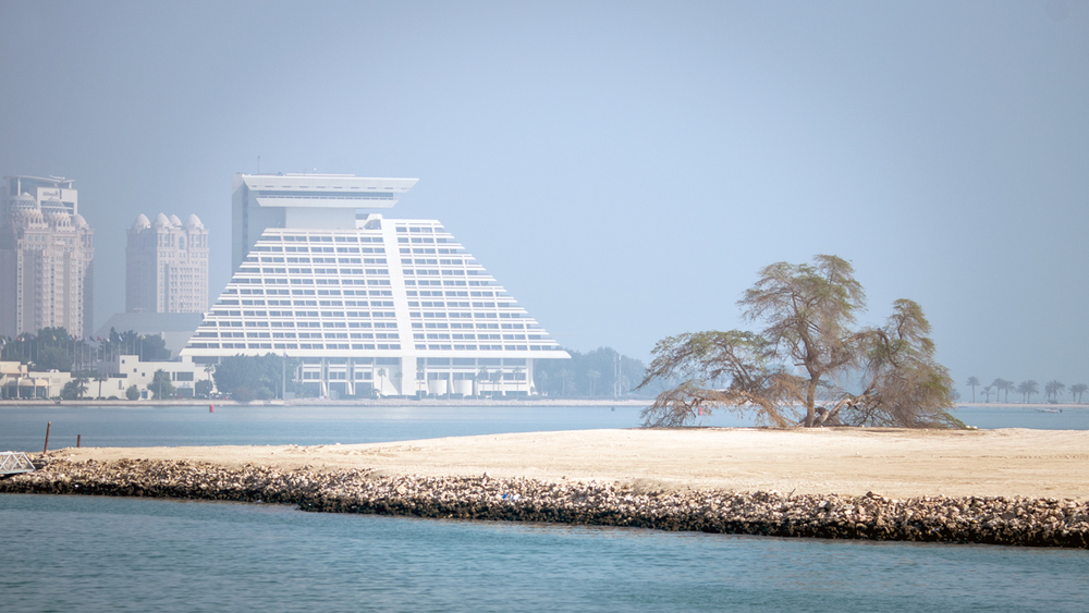 A view of our hotel, The Sheraton, from our morning Dhow cruise...