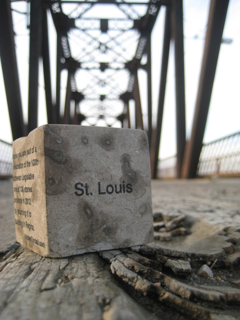 "Hidden Tyndall | St. Louis by Terri Fidelak, 2012, engraved tyndall stone, 2""x2""x2"""