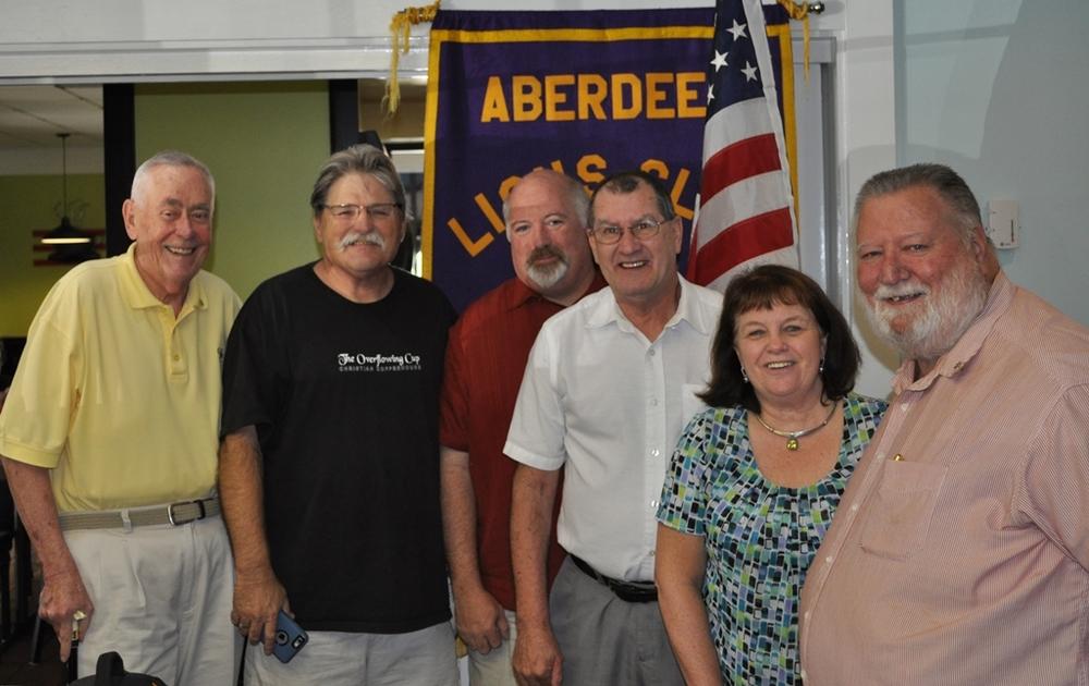 PDG Brad, Lion Ben, New Lions Mike & Dave, Lion Linda, President Chuck