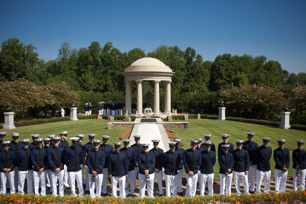 The Virginia Tech Corps of Cadets visits the National D-Day Memorial in Bedford, Virginia.