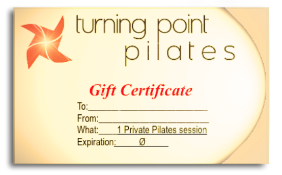Click to the Turning Point Pilates website and make your purchase now >     Or Purchase at their Venice Pilates Studio:    612A Venice Boulevard | Venice | CA | 90291    near Abbot Kinney in Office Park    Call 310-217-7630    Turning Point Pilates  was voted  Best of the Westside  for Pilates for the past 2 years in the Argonaut!     Holiday Schedule    Wednesday 12-24-14 open until 2pm   Closed 12-25-14 – Thursday 1-1-2015    OPEN Friday January 2, 2015!