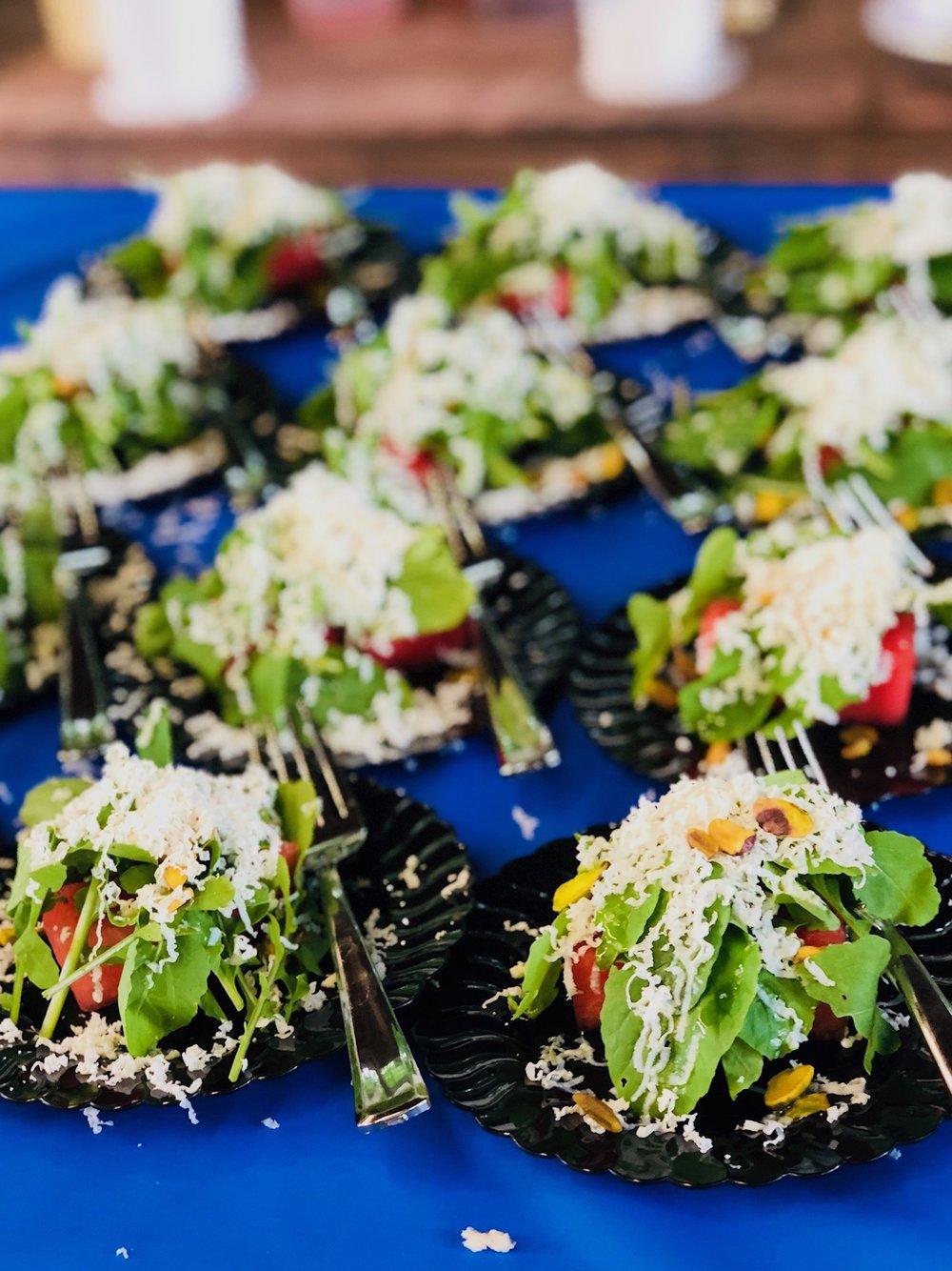 Watermelon Salad - with Arugula, Pistachio, Ricotta Salata, Pink Peppercorn
