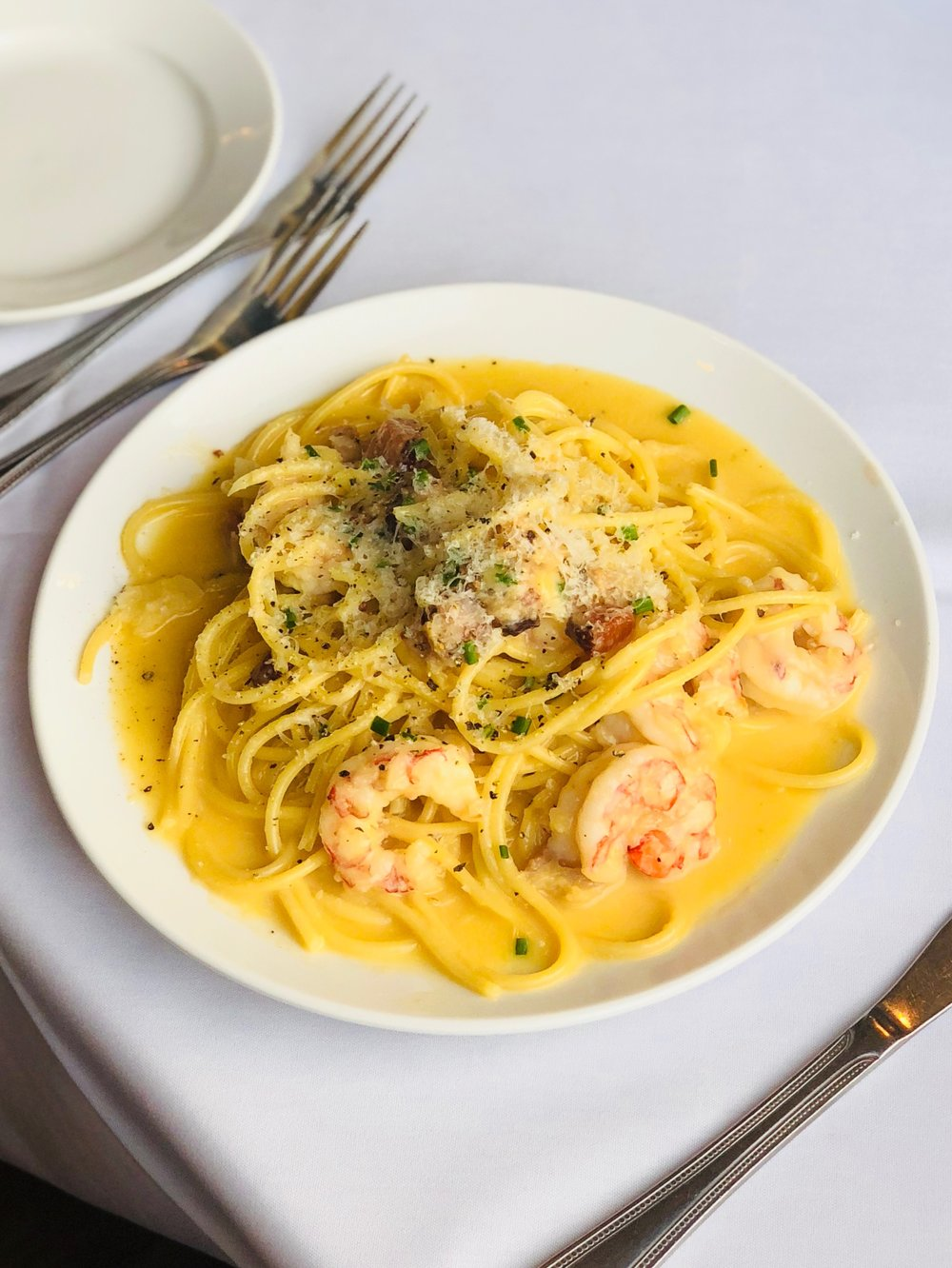 Shrimp Carbonara - Ruby Red Shrimp & Crispy Smoked Appel Belly Tossed in Creamy Pecorino Romano