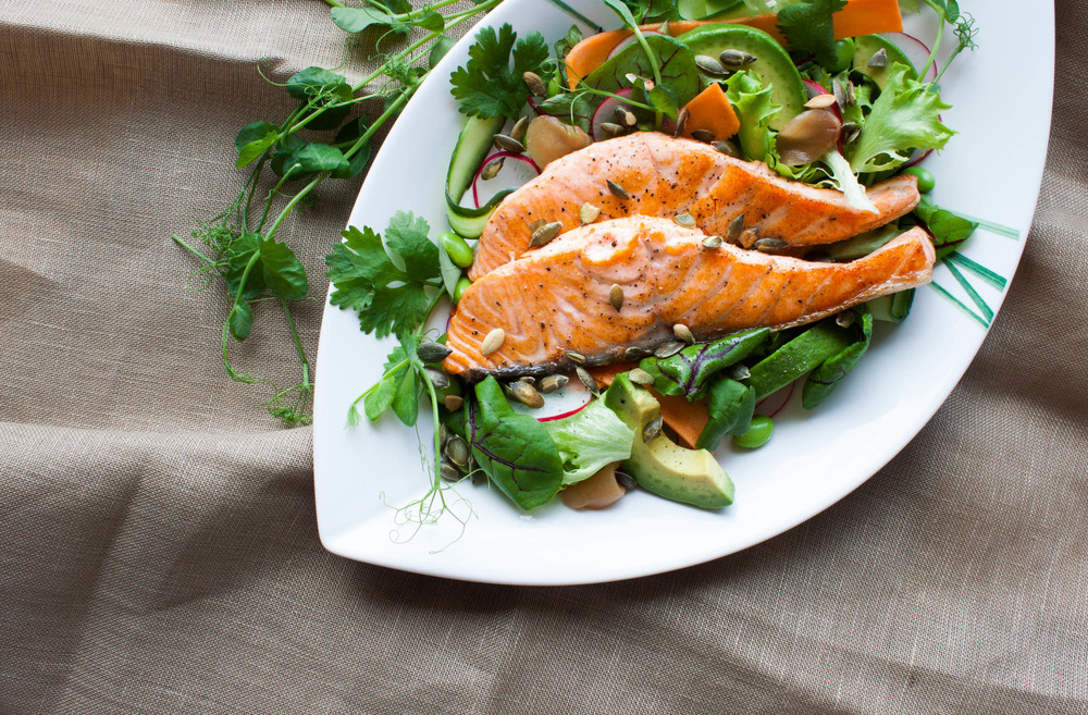 Being kind to oneself – Salmon Salad with Wasabi Dressing