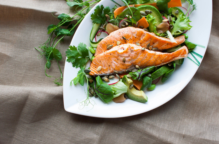 Salmon Salad with Wasabi Dressing