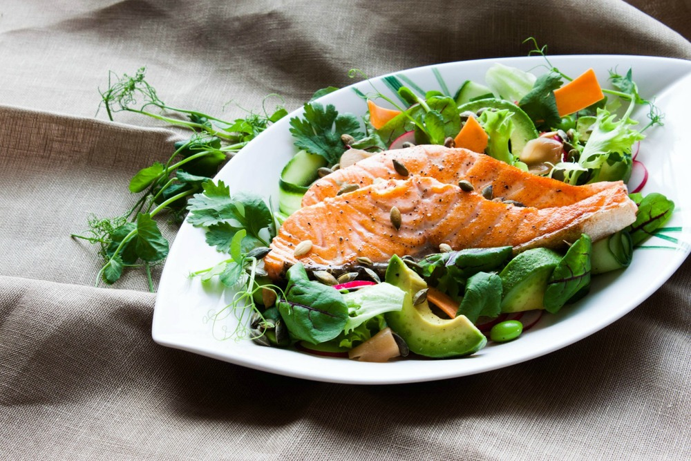 Salmon Salad with Wasabi Dressing | my blue&white kitchen