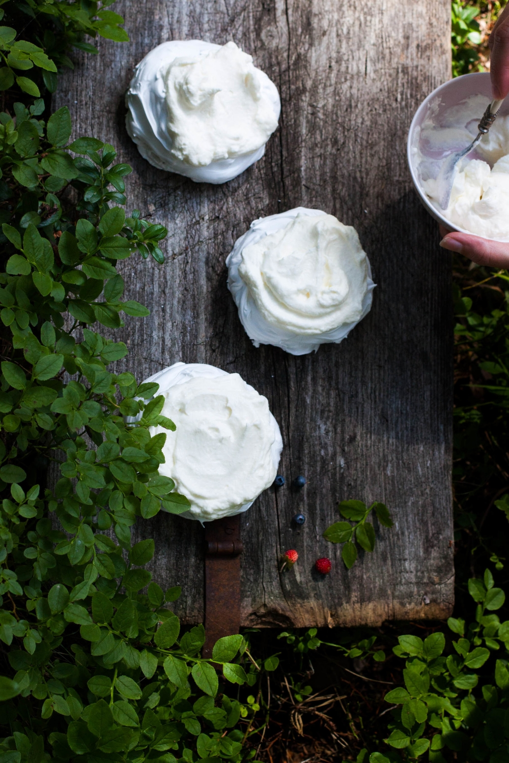 Mini Almond Pavlovas with Forest Berries | my blue&white kitchen