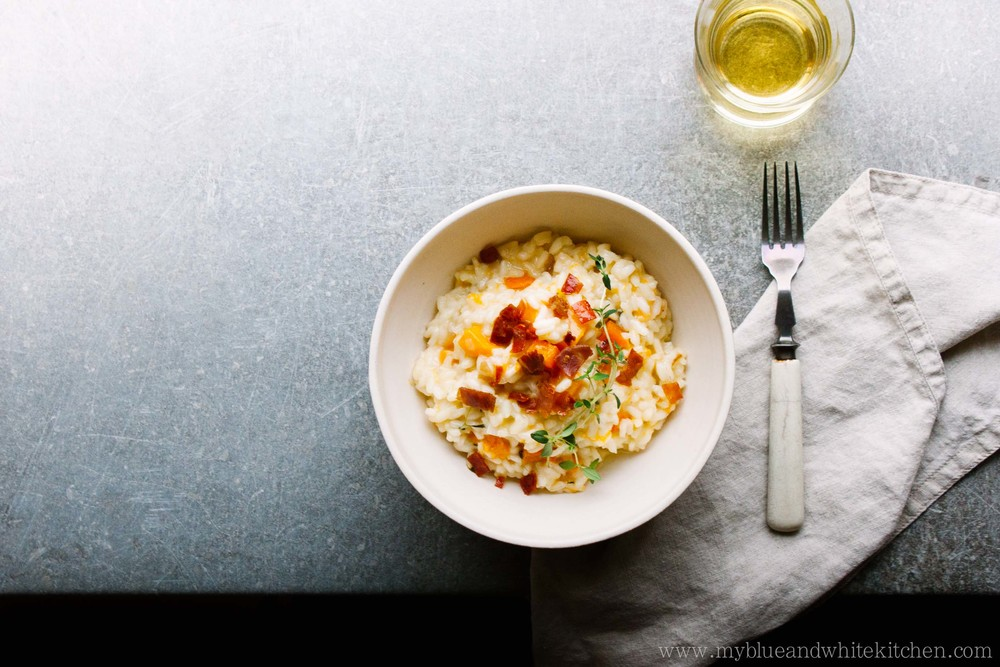 Roasted Pumpkin Risotto with Crispy Prosciutto | My Blue&White Kitchen