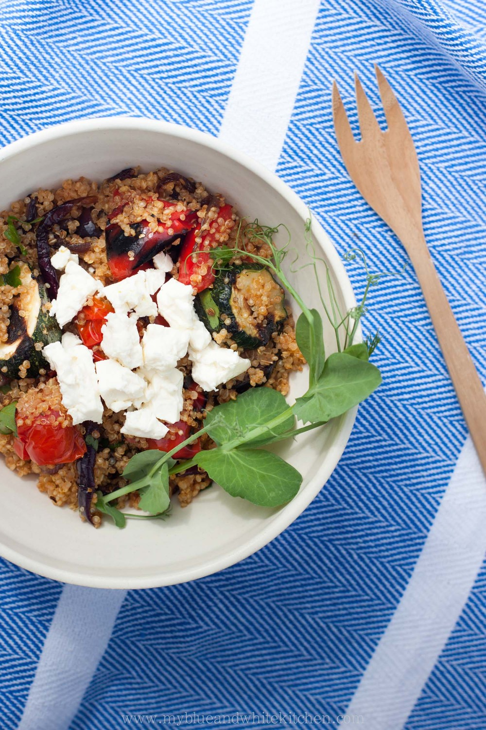 Quinoa Salad with Grilled Summer Vegetables & Harissa | My Blue&White Kitchen