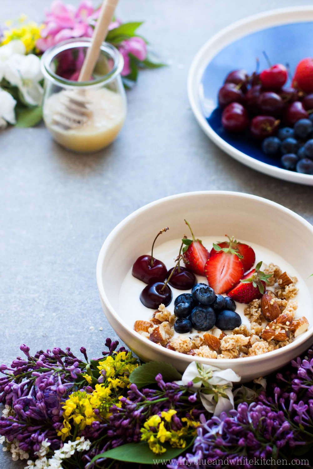 Honey Granola with Summer Berries | My Blue&White Kitchen