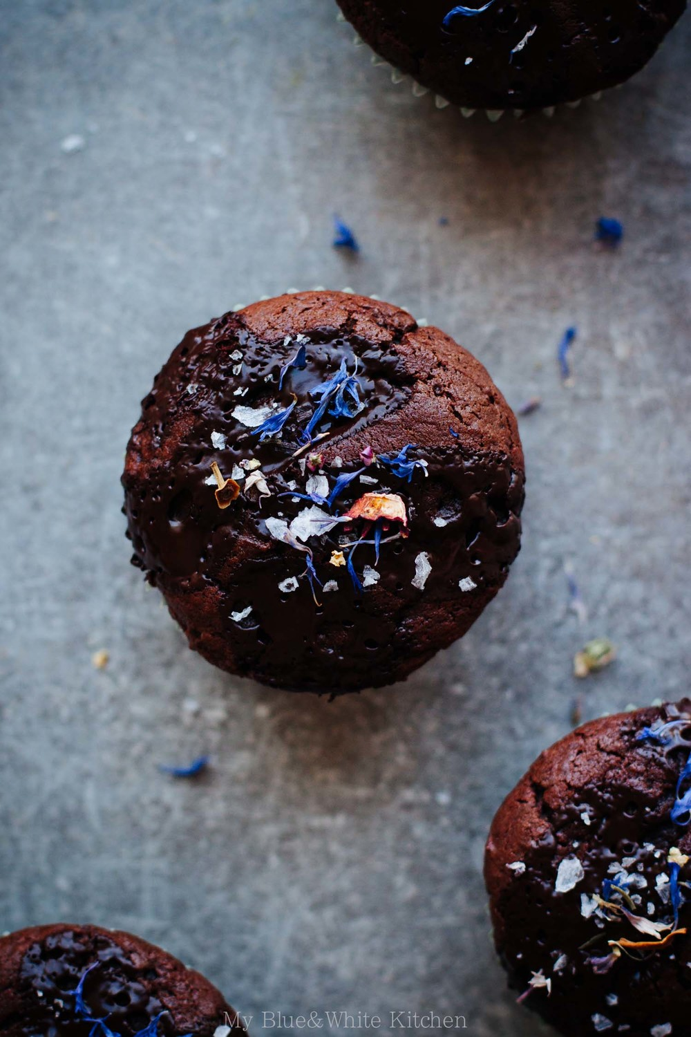 Double Chocolate Muffins with Flaked Sea Salt & Dried Flowers | My Blue&White Kitchen