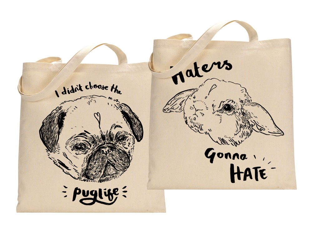 pug and bunny meme totes ©helloharriet2015