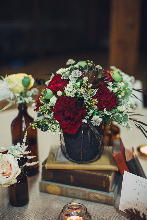 Flower centerpiece with books