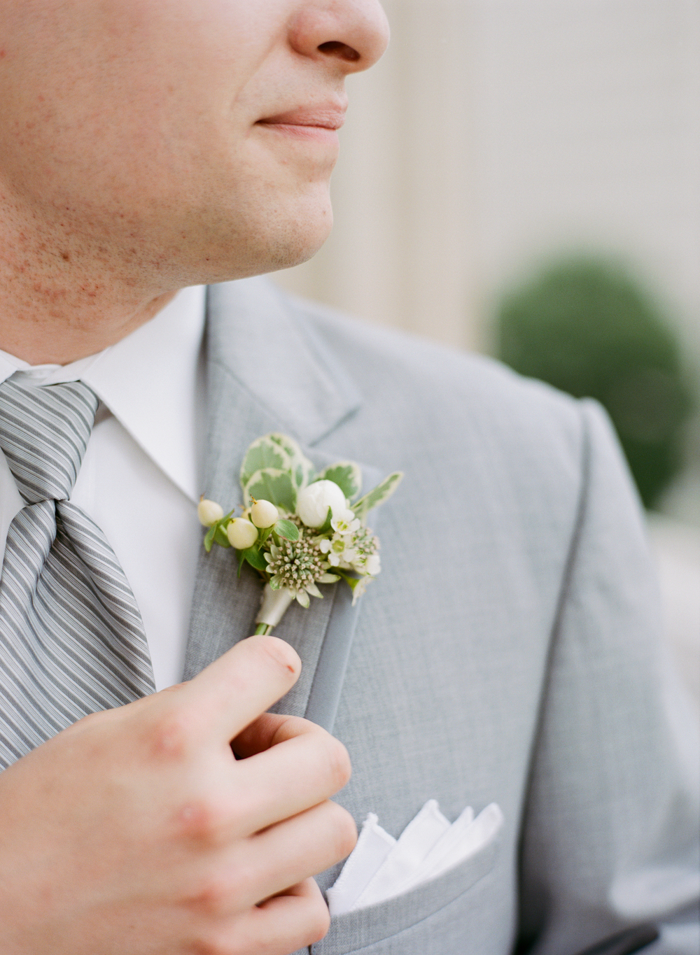 Cream with Greenery Groom Boutonniere